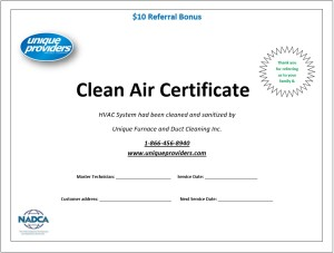 clean air certificate by unique providers