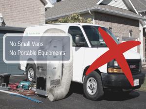 no small vans no portable equipment