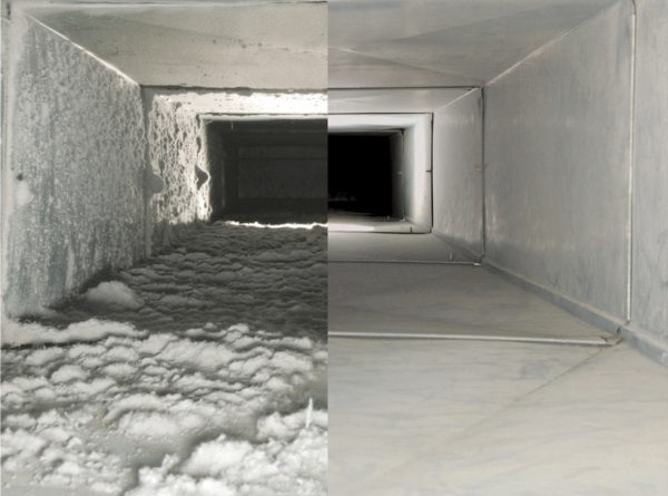 duct cleaning before and after picture
