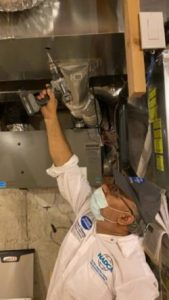 unique providers technician starting work from furnace room