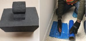 unique provider technician covering vents with foam blocks or paper